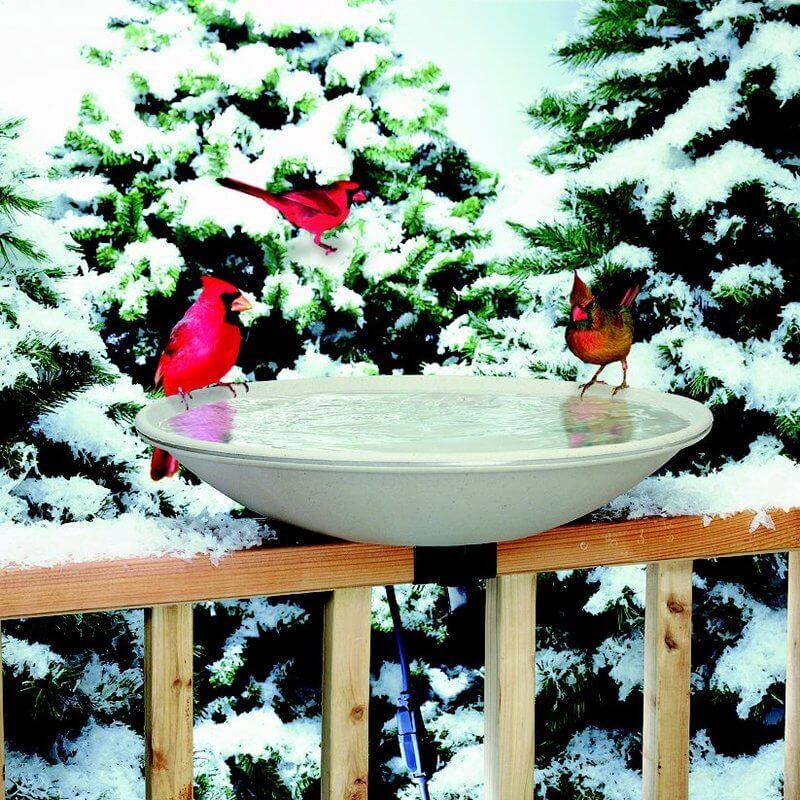 Deck-mounted Heated Bird Bath