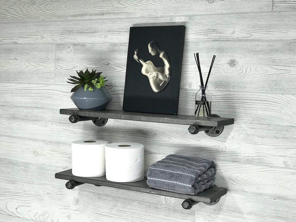 Deep Gray Floating Pipe Shelves