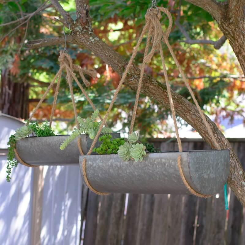 Galvanized Metal Hanging Planter