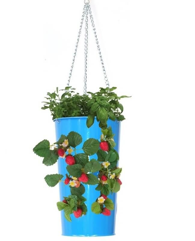 galvanized steel hanging planter