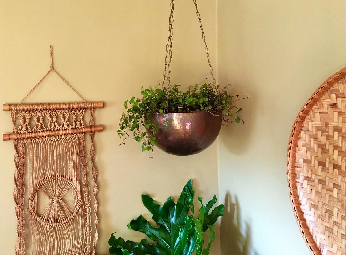 Hammered Brass Hanging Planter