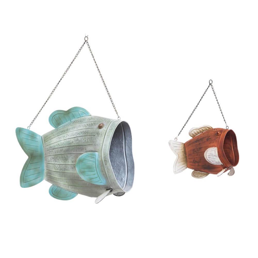 Hanging Metal Fish Planter