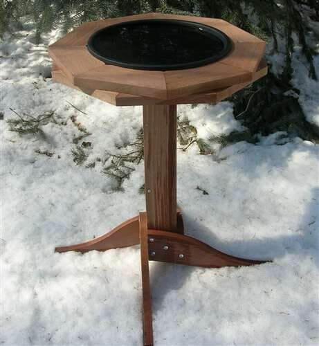 Heated Cedar Bird Bath
