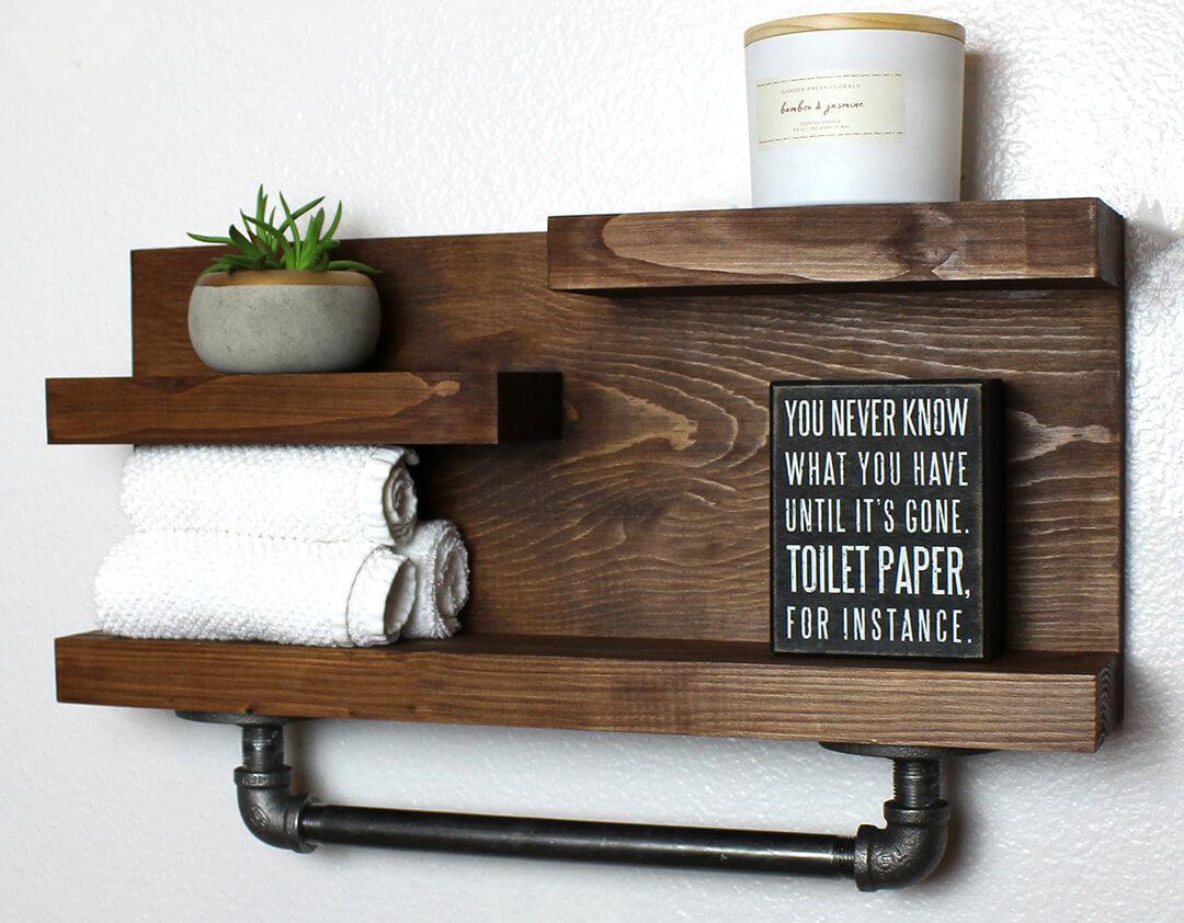 Industrial Bathroom Pipe Shelf