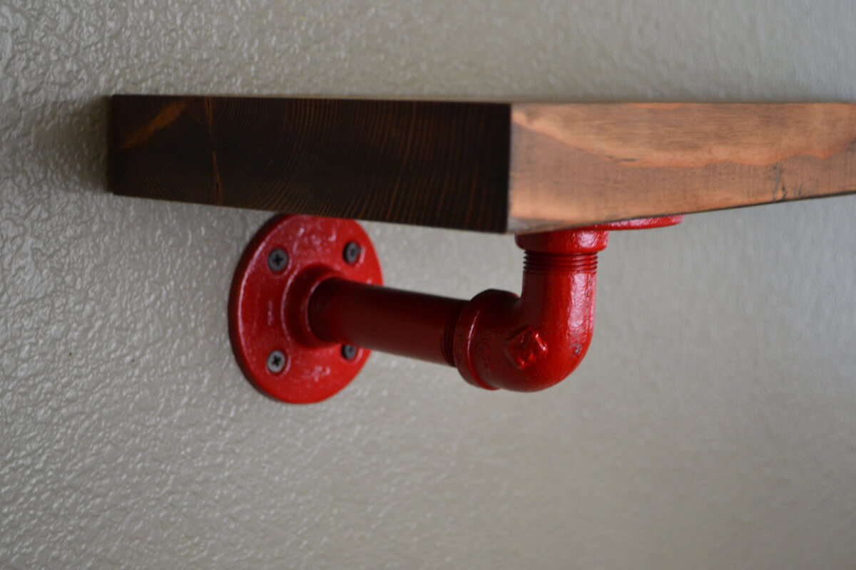 Industrial Red Pipe Shelf