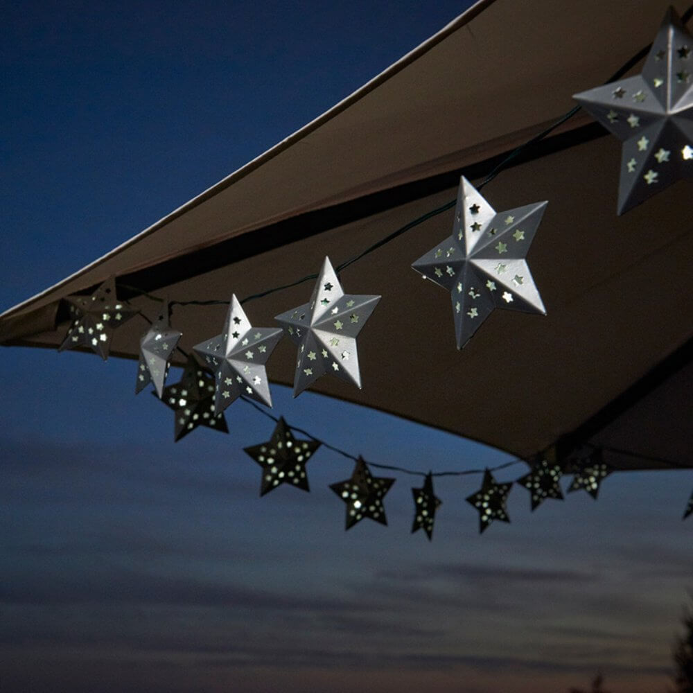 Metal Star Solar String Lights