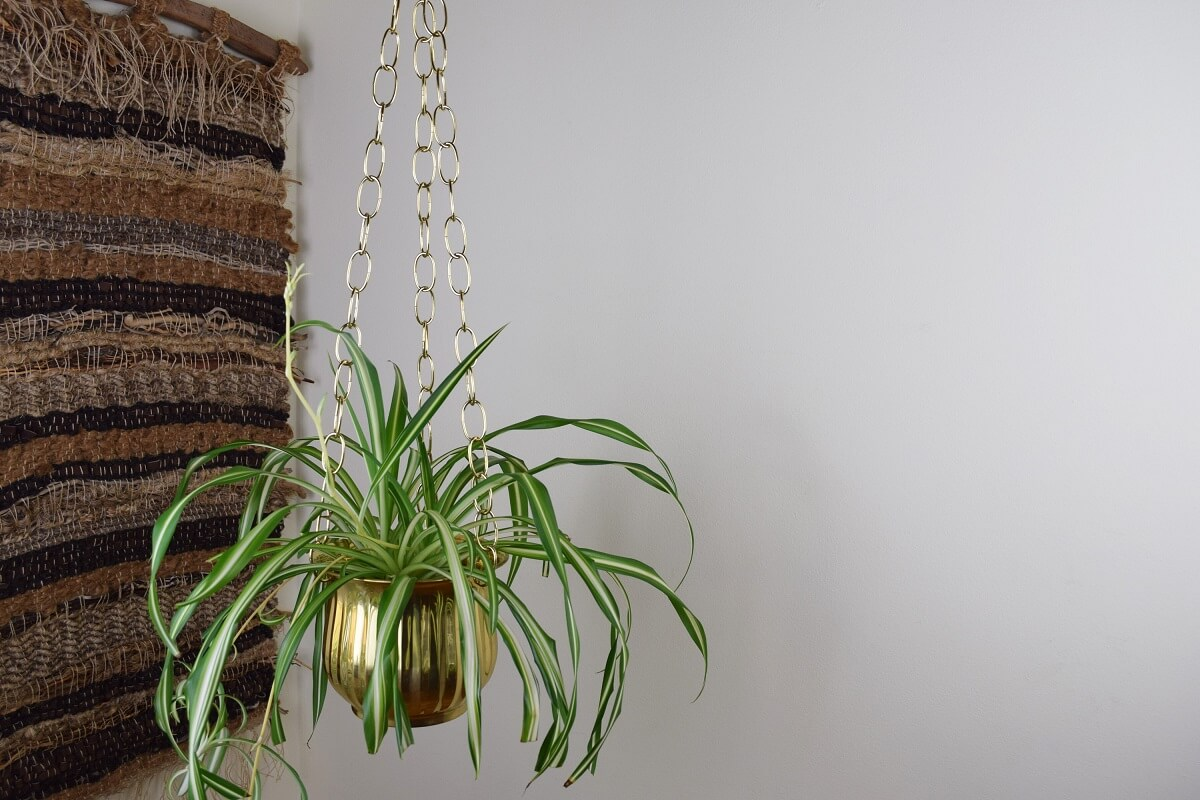 Mid-Century Brass Hanging Planter