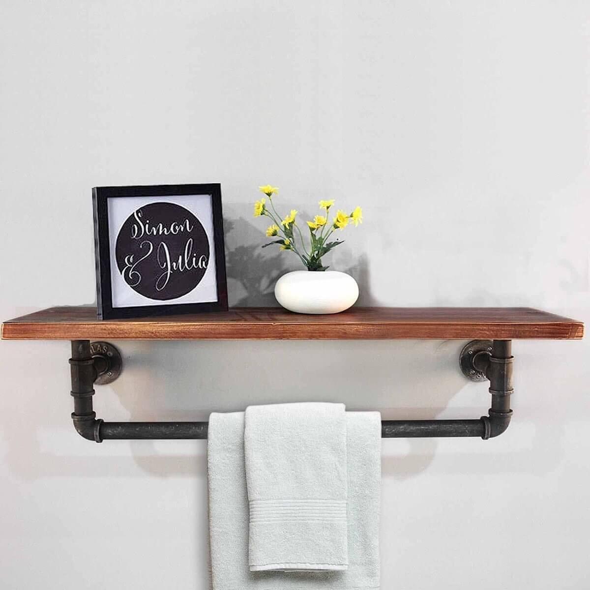 pipe shelf towel rack