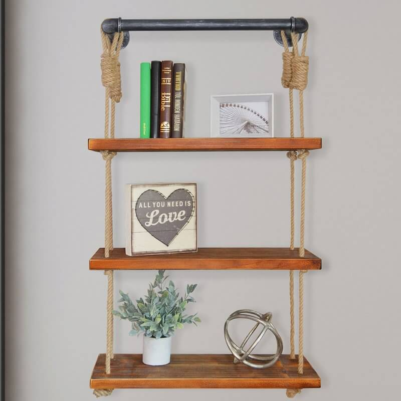 Kitchen Shelves With Accent Ropes