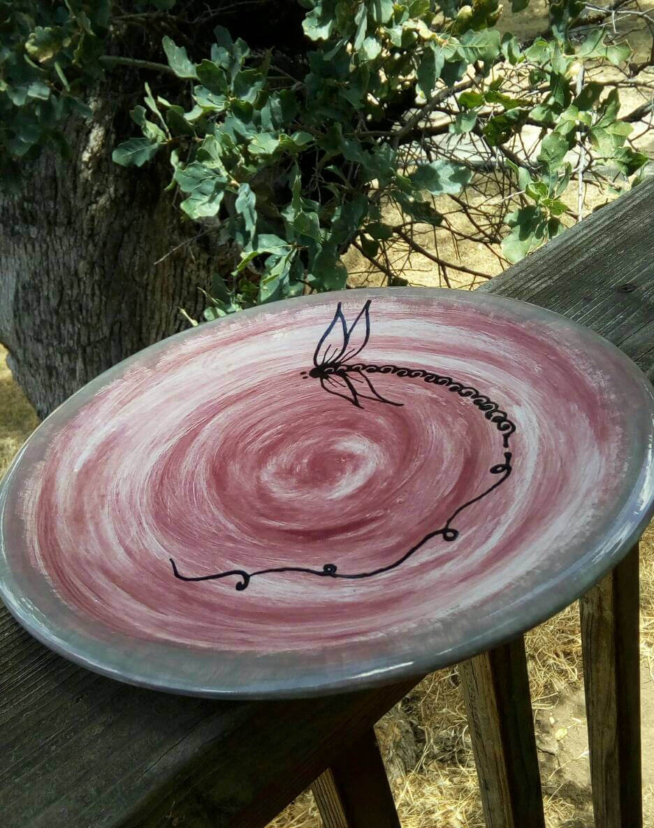 Pottery Bird Bath Dish