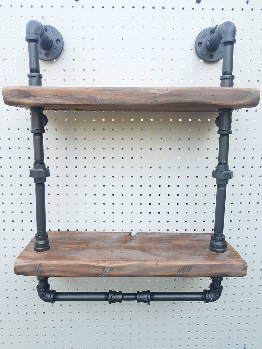 Reclaimed Wood Pipe Shelf