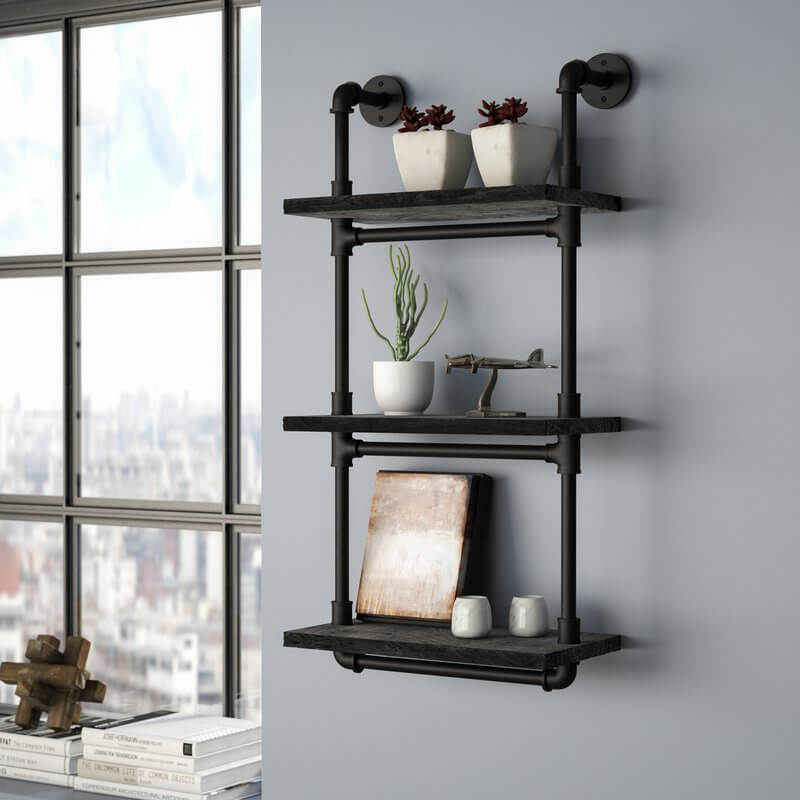 Sleek Black Pipe Shelf