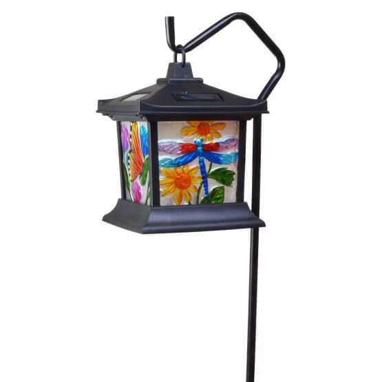 Solar Light With Flower And Dragonfly Detail
