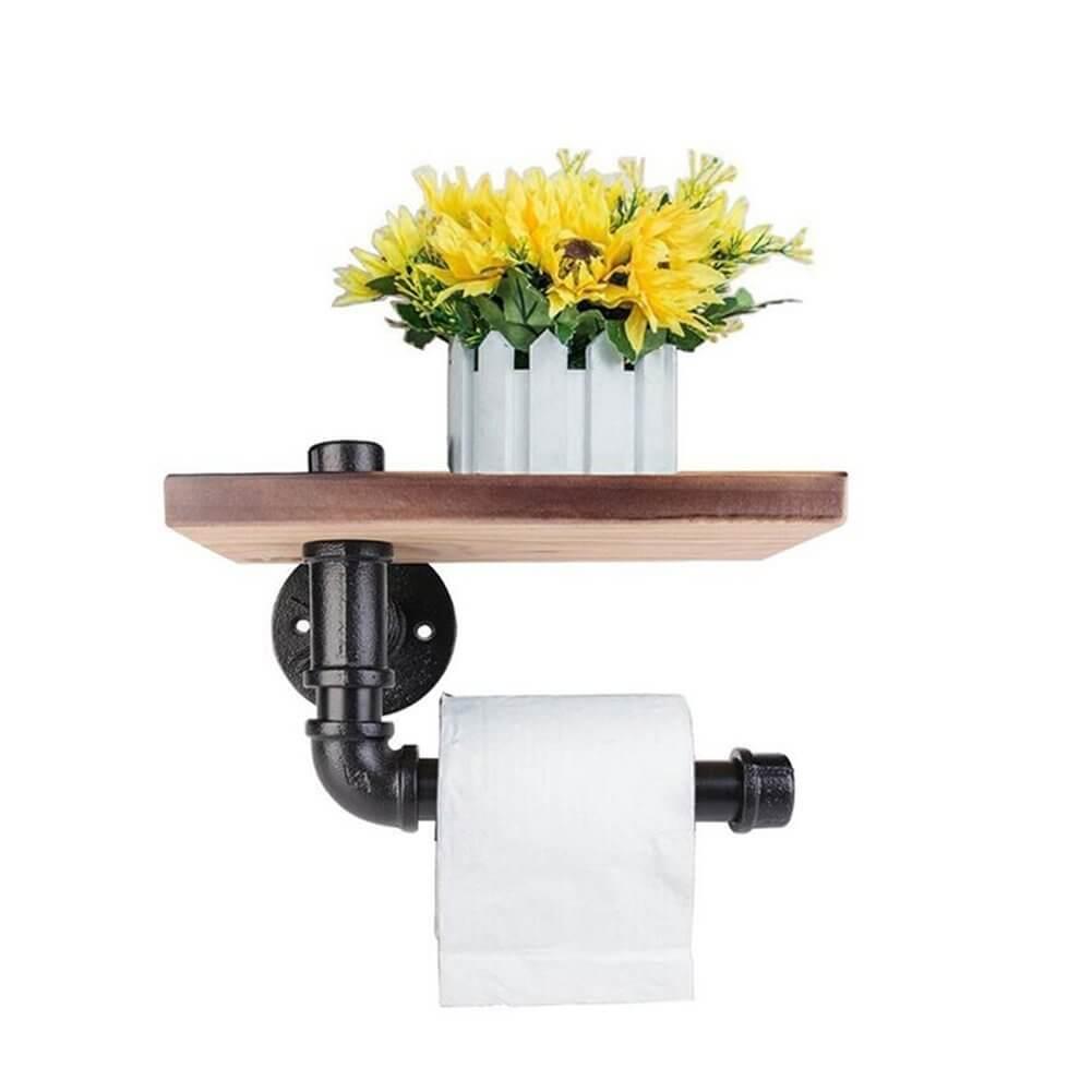 Toilet Paper Holder Pipe Shelf