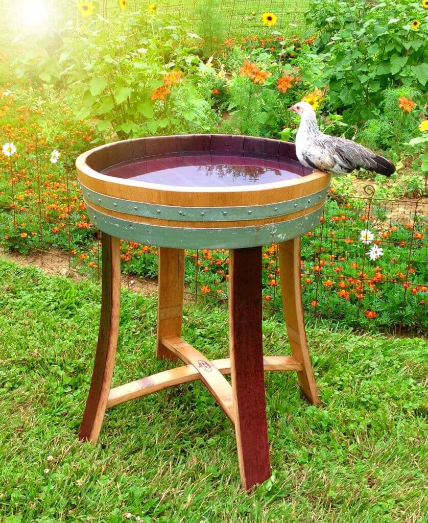 Wine Barrel Bird Bath