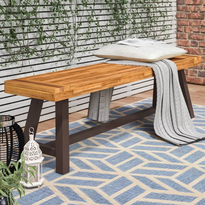 Acacia Wood Outdoor Bench