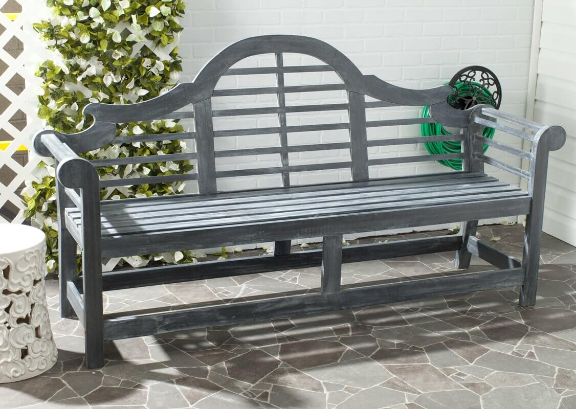 Ash Gray Rustic Outdoor Bench