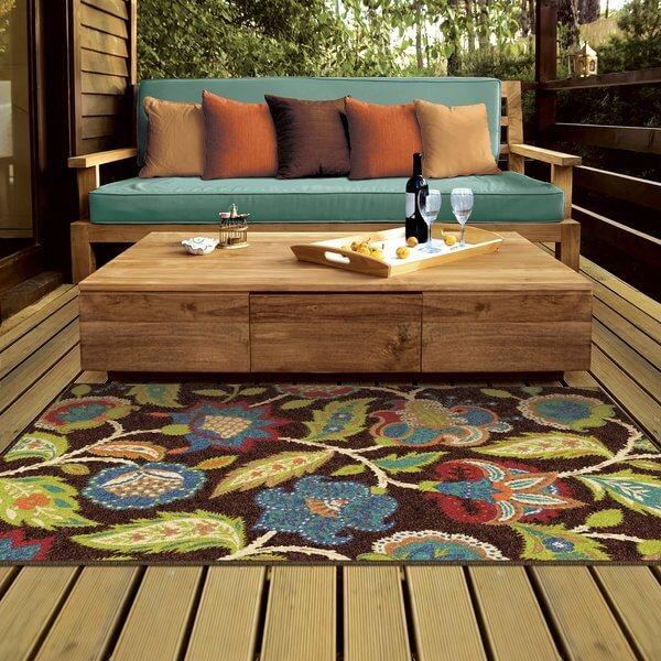Floral Print Indoor Outdoor Rug