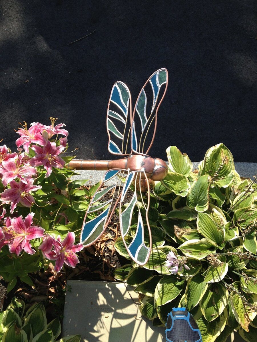 Handcrafted Copper Dragonfly Weathervane