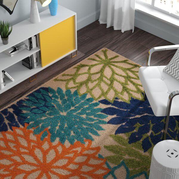 Large Floral Print Indoor Outdoor Rug