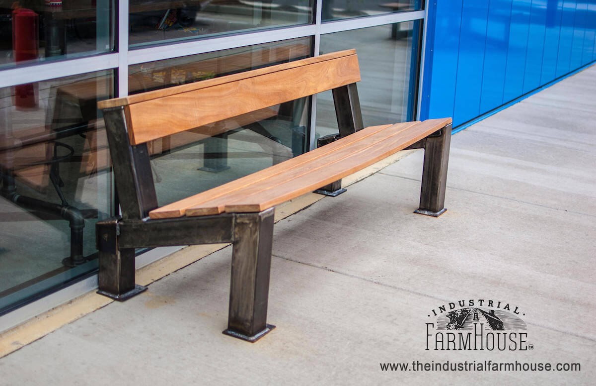 Modern Industrial Outdoor Bench