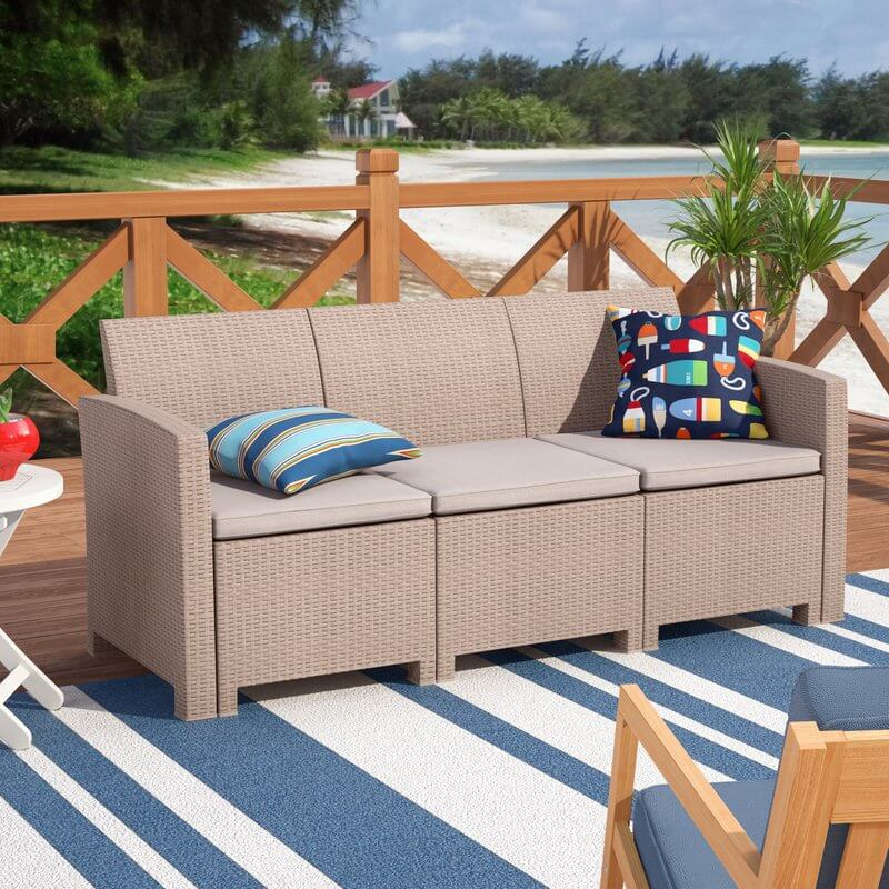 Neutral Woven Rattan Wicker Outdoor Sofa