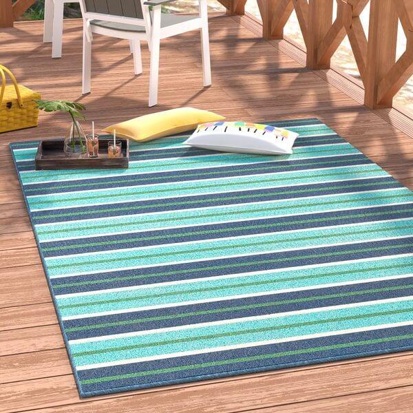 Ocean Blue Indoor Outdoor Rug