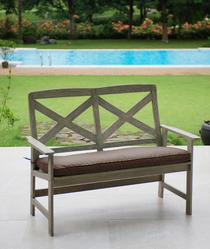 Outdoor Bench Loveseat With Cushion