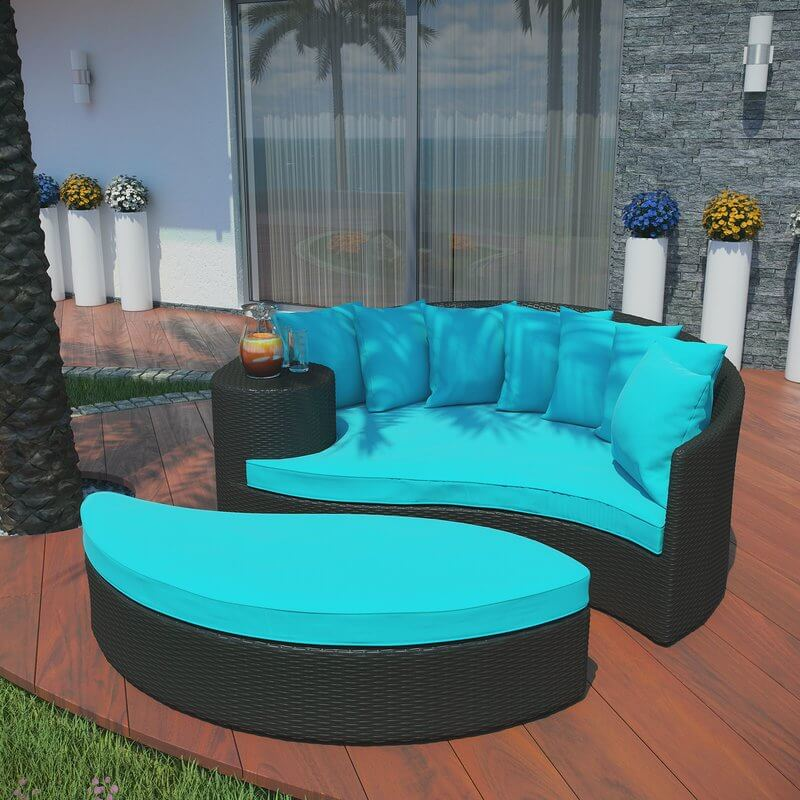 Outdoor Daybed Sofa With Ottoman