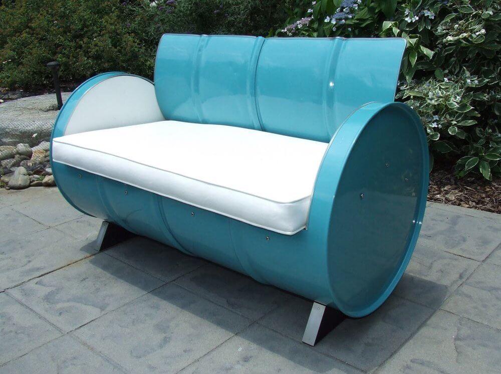 Reclaimed Steel Barrel Outdoor Sofa