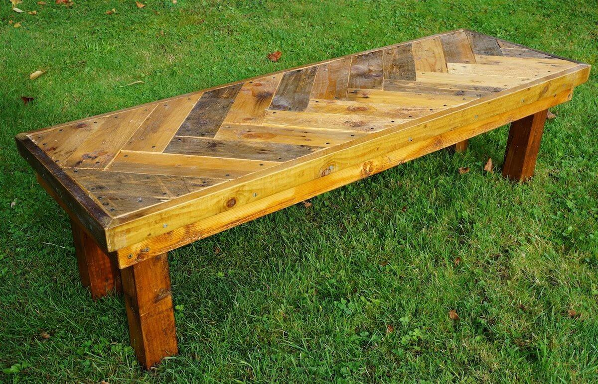 Reclaimed Wood Chevron Outdoor Bench