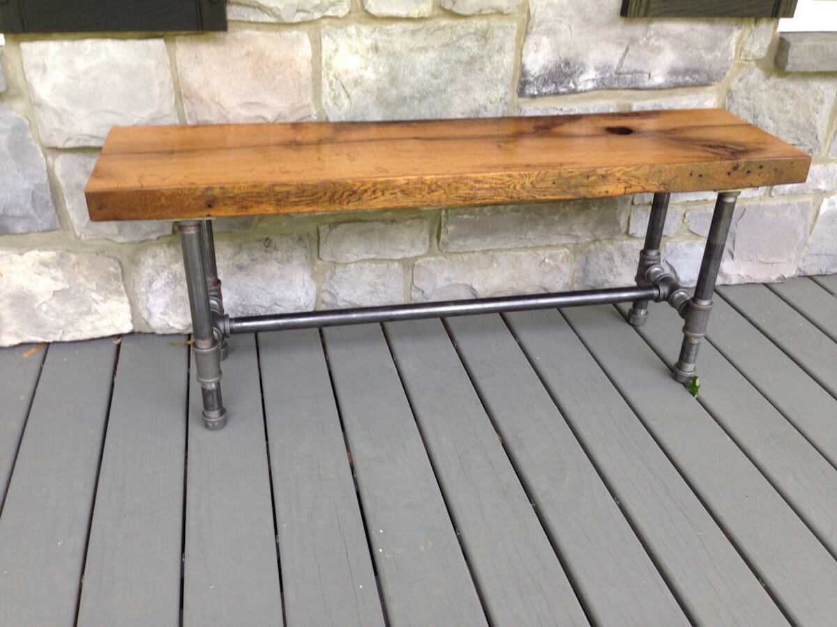 Reclaimed Wood Pipe Outdoor Bench