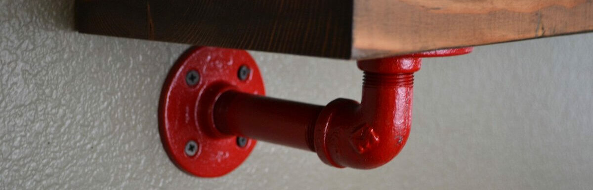 red pipe shelf