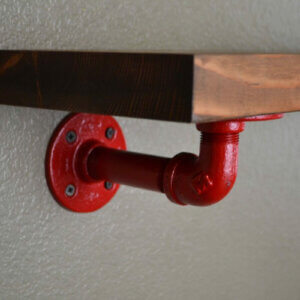 red pipe shelf
