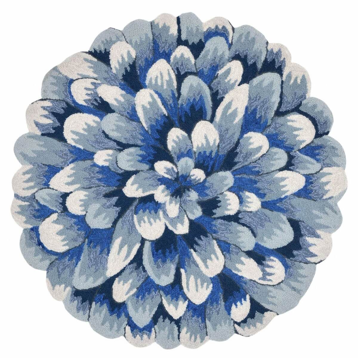 Round Floral Outdoor Rug