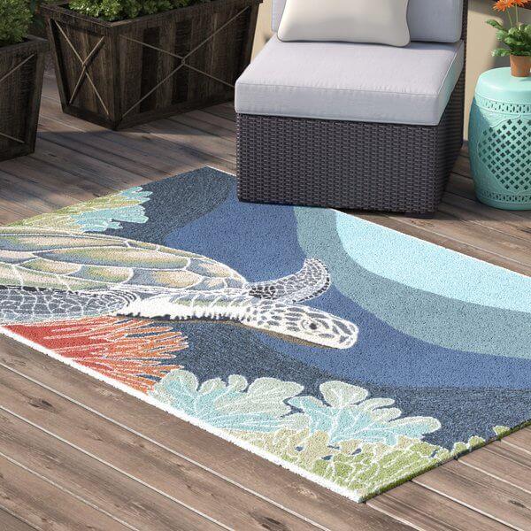 Sea Life Inspired Indoor Outdoor Rug