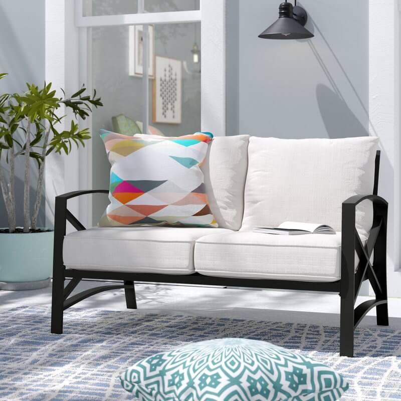 Steel Framed Outdoor Loveseat Sofa