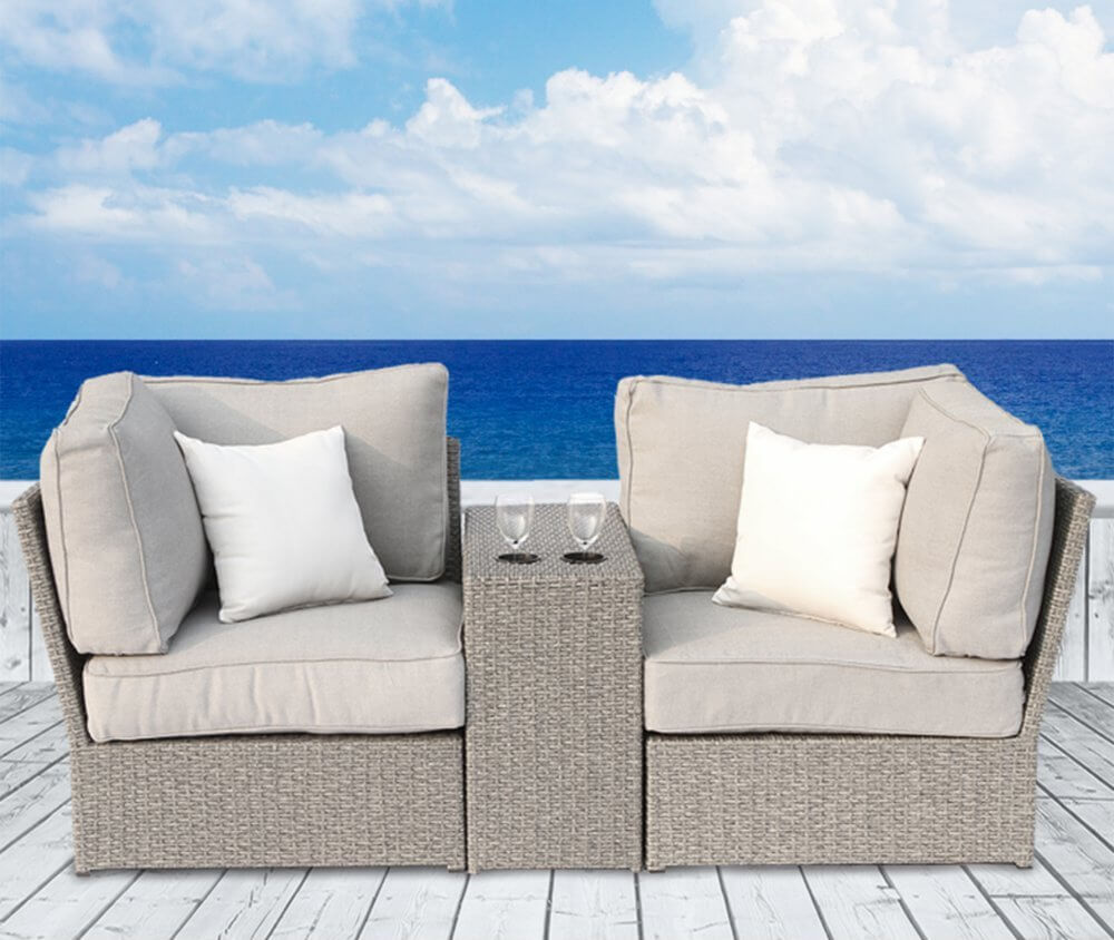 Wicker Outdooor Loveseat Sofa With Cup Holders