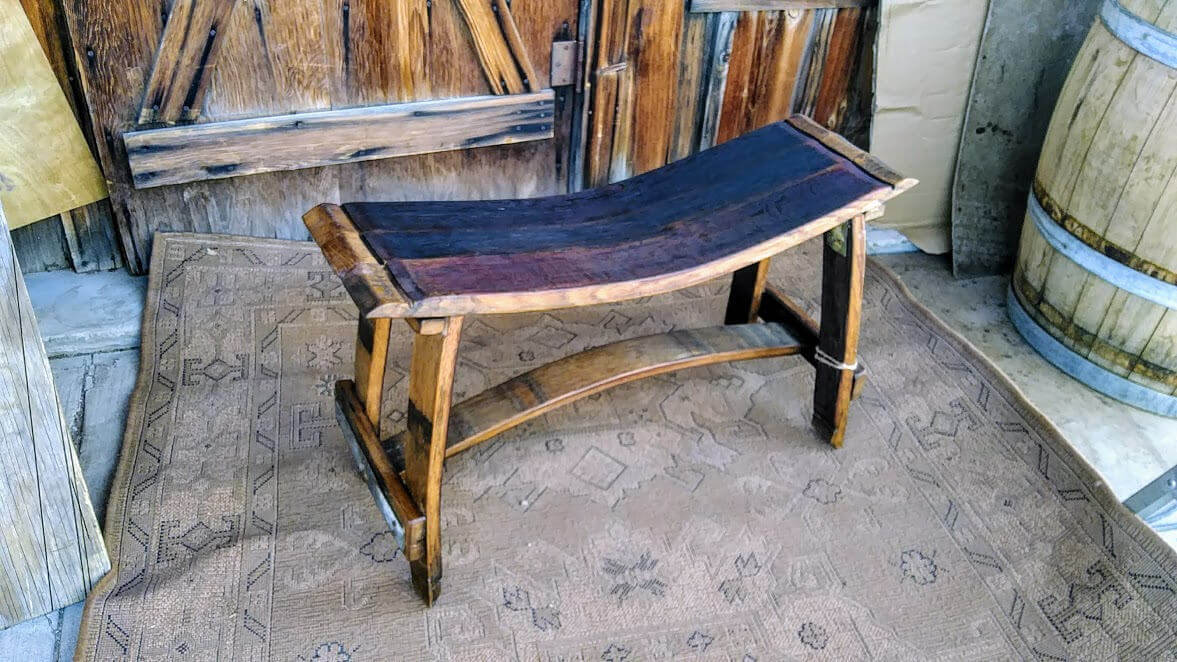 Wine Barrel Outdoor Bench