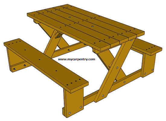 All-in-One Picnic Table Plans with Benches