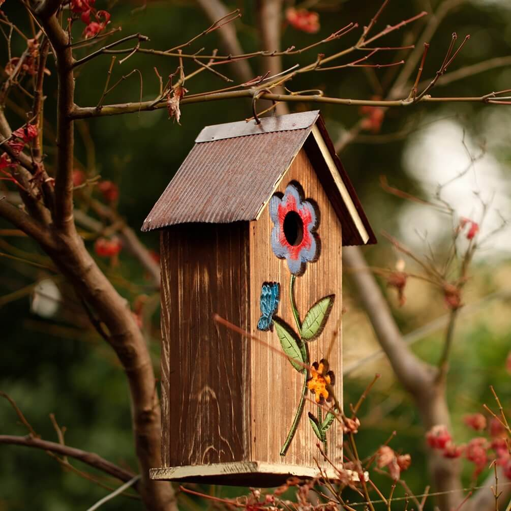 Carved Wood Bird House