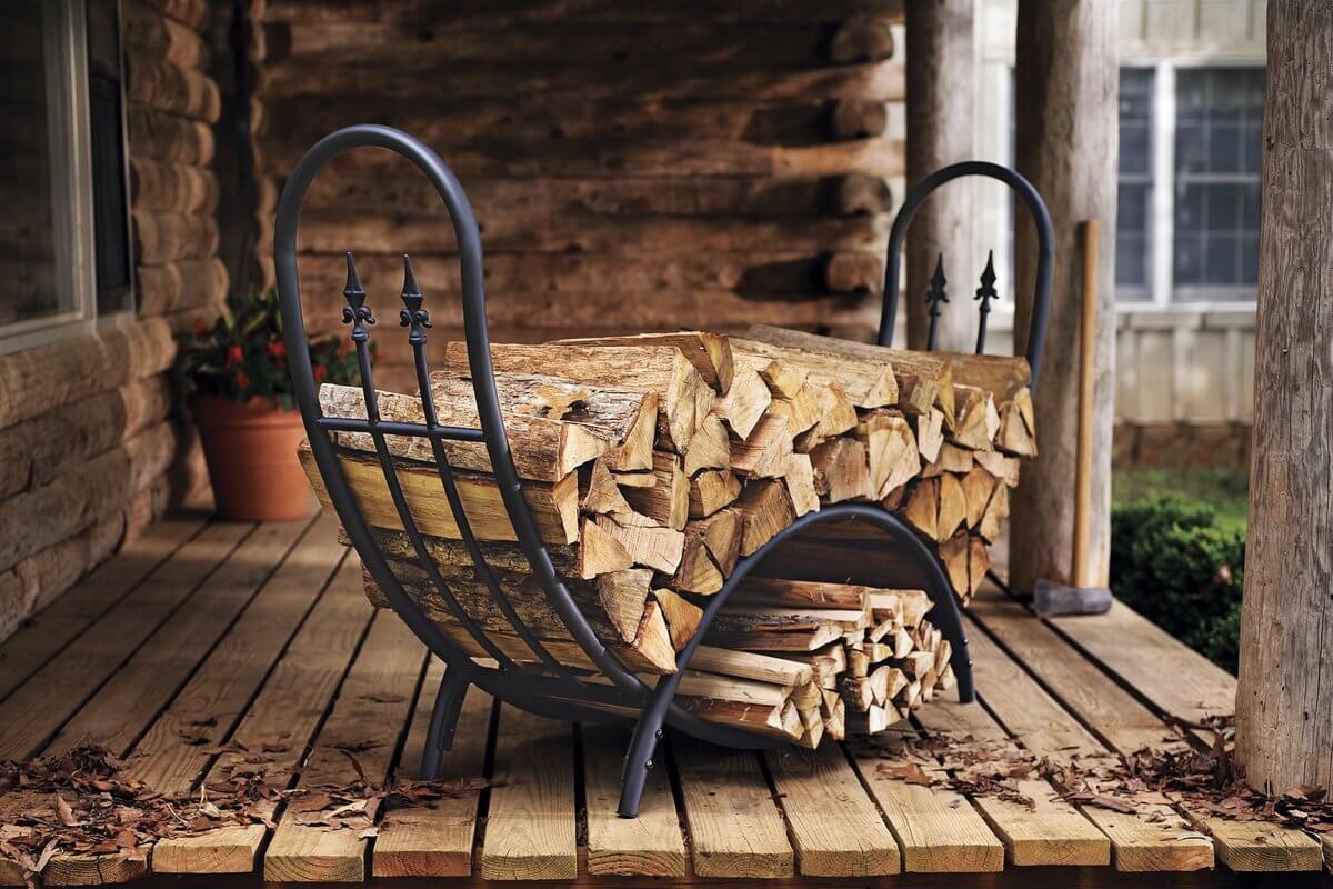 Classic Firewood Storage With Diamond Finials Details