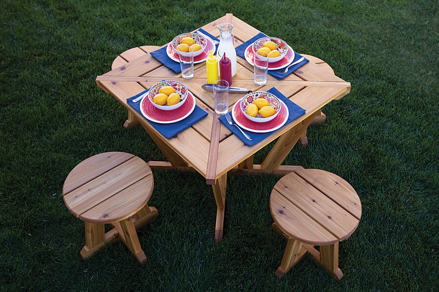 Compact Picnic Table Plans with Stools