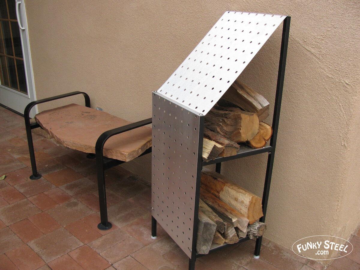 Contemporary Steel Firewood Storage