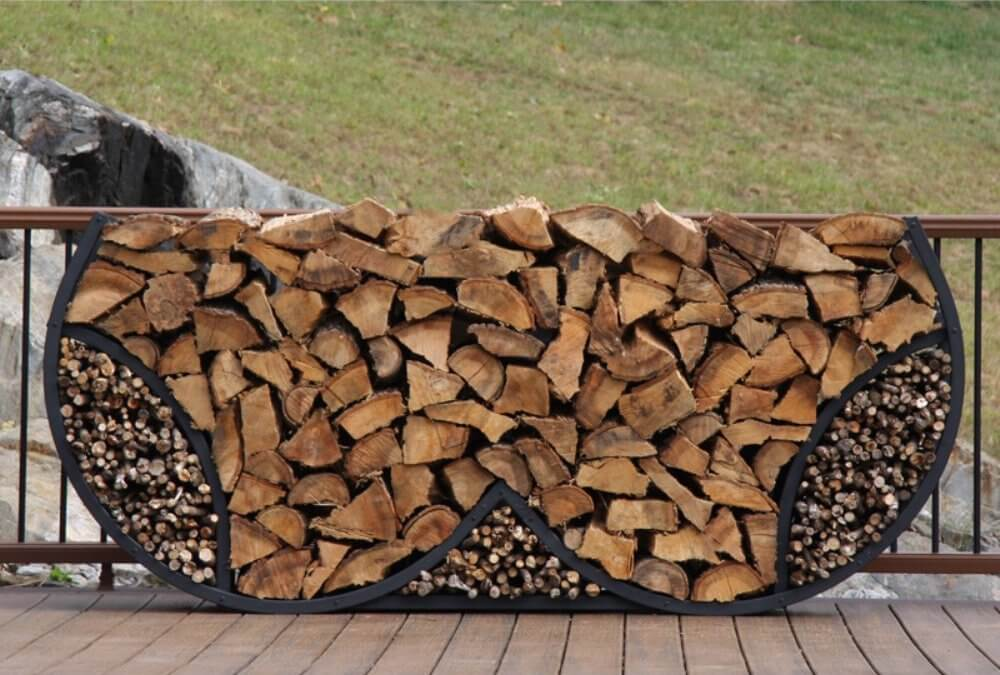 Double Round Firewood and Kindling Log Rack