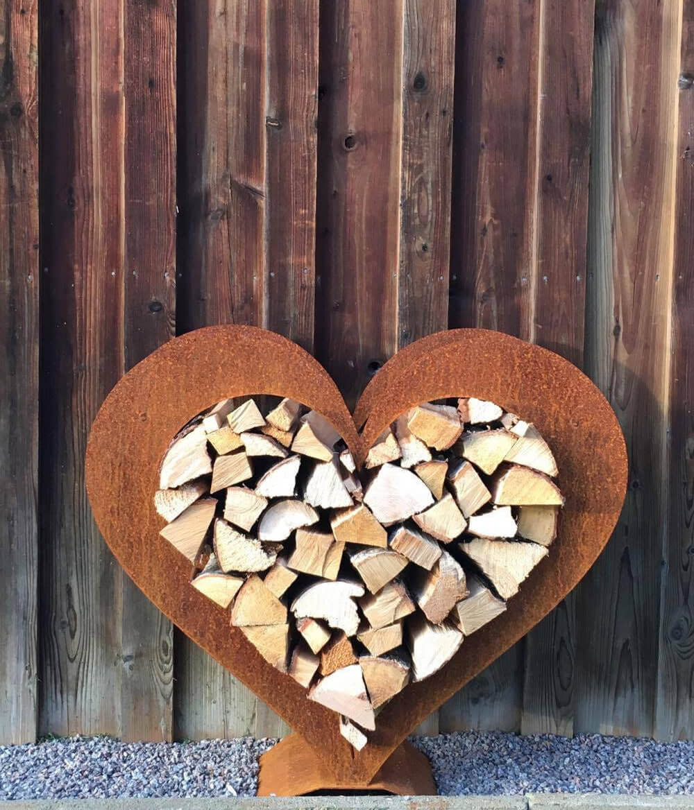 Heart Shaped Firewood Storage