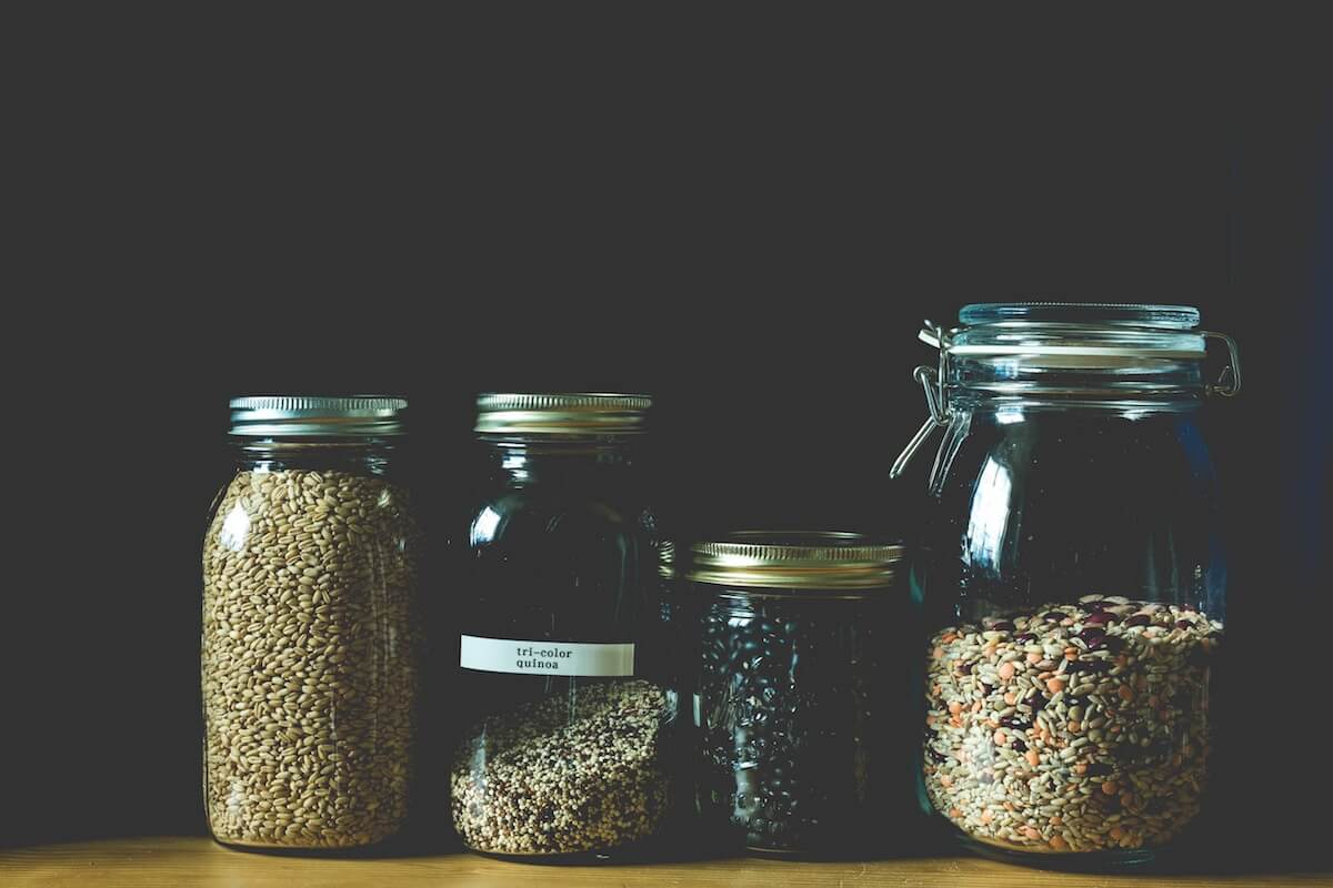 grain in jars
