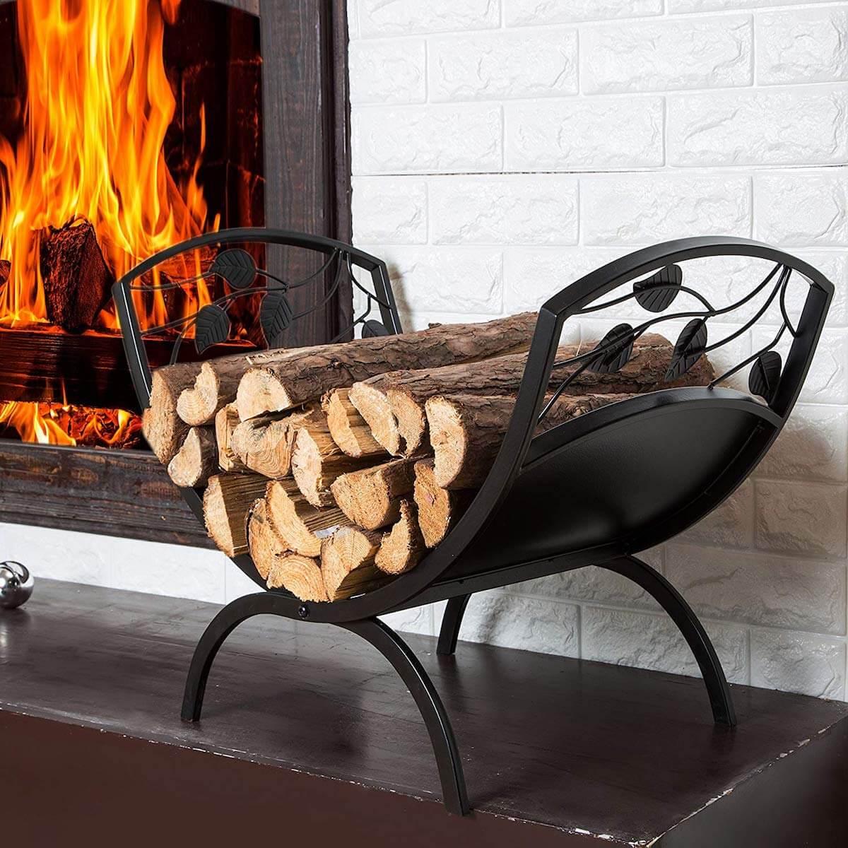 Metal Leaf And Vine Firewood Rack