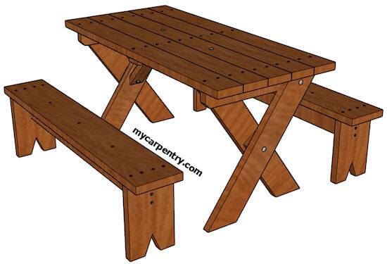 how to build picnic table with detached benches