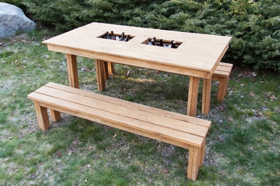 picnic table with cooler